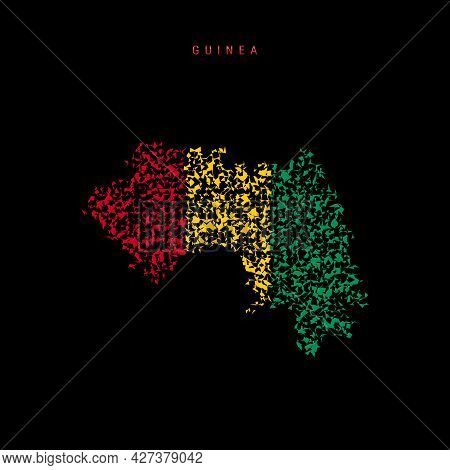 Guinea Flag Map, Chaotic Particles Pattern In The Colors Of The Republic Of Guinea Flag. Vector Illu