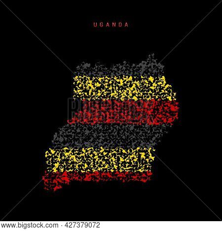 Uganda Flag Map, Chaotic Particles Pattern In The Colors Of The Ugandan Flag. Vector Illustration Is