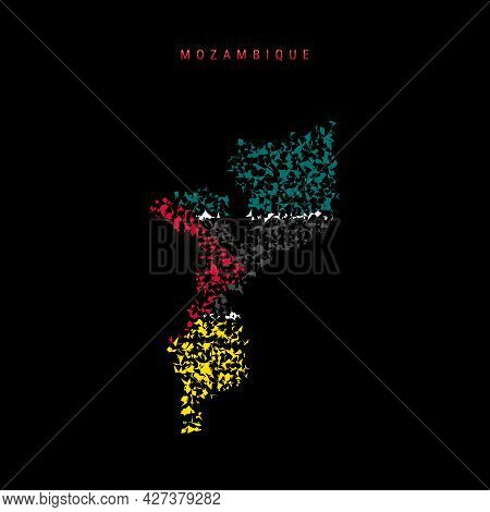 Mozambique Flag Map, Chaotic Particles Pattern In The Colors Of The Mozambican Flag. Vector Illustra