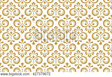 Flower Geometric Pattern. Seamless Vector Background. White And Gold Ornament
