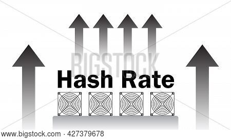 Hash Rate Of Blockchain Network Increase.  Cryptocurrency Mining Devices With In Uptrend Isolated On
