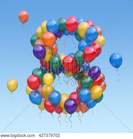 Number 8 eight from balloons in the sky. Text letter for age, holiday, birthday, celebration. 3d illustration