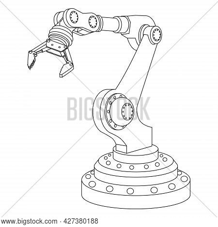 Outline Mechanical Robotic Arm With Gripper Isolated On White. Vector Illustration.