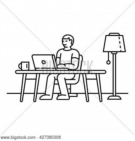 Freelancer Icon. Outline Freelancer Vector Icon For Web Design Isolated On White Background