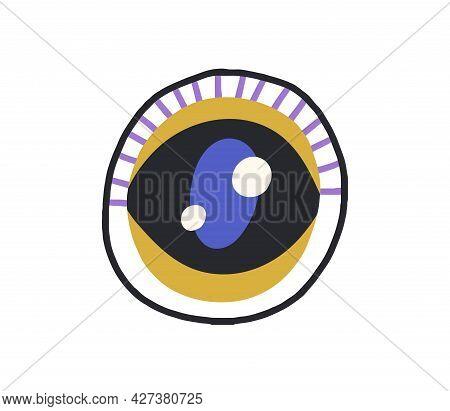 Esoteric Evil Eye With Pupil And Abstract Eyelashes. Magic Spiritual Symbol. Mystical Eyeball Circle
