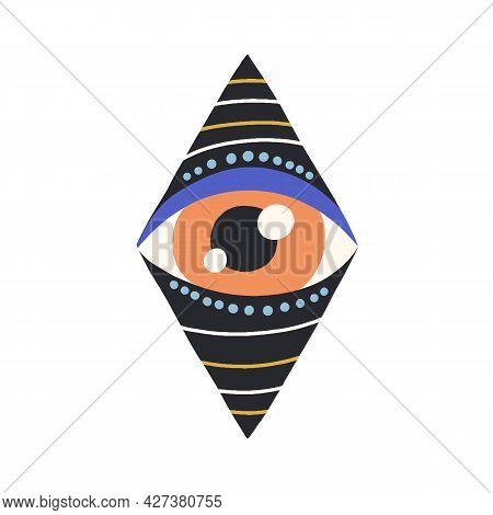 Esoteric Evil Eye Looking From Hole And Peeping. Magic Holy Abstract Eyeball Inside Geometric Rhombu