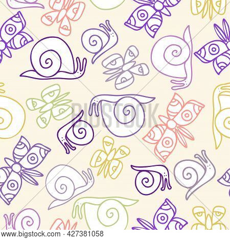 Vector Seamless Colorful Stylised Pattern With Abstract Simple Butterflies And Snails