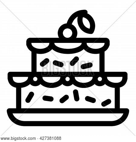 Cherry On Birthday Cake Icon. Outline Cherry On Birthday Cake Vector Icon For Web Design Isolated On