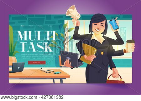 Multitask Banner With Business Woman With Many Hands In Office. Vector Landing Page Of Multitask Con