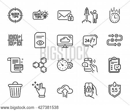 Vector Set Of Locked App, Cloud Upload And Launch Project Line Icons Set. Fast Delivery, Secure Mail