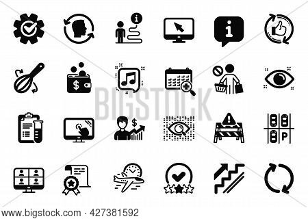 Vector Set Of Business Icons Related To Touch Screen, Refresh And Medical Analyzes Icons. Business G