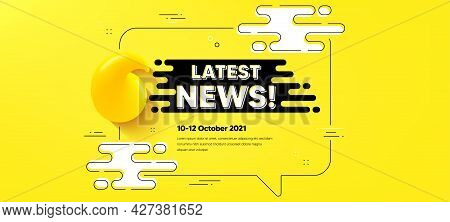 Latest News Text. Quote Chat Bubble Background. Media Newspaper Sign. Daily Information Symbol. Late