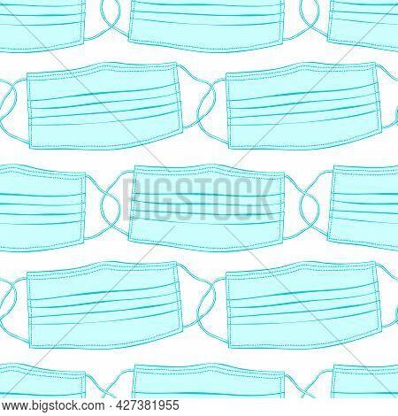 Seamless Pattern With Blue Medical Face Masks Isolated. Virus Protection, Quarantine. Coronavirus Pa