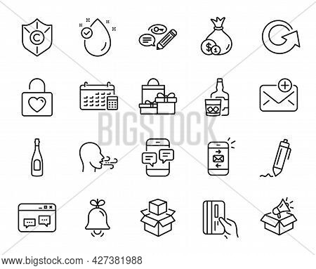 Vector Set Of Copyright Protection, Payment Card And Browser Window Line Icons Set. Mail, Champagne
