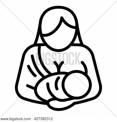 Young Mother Breastfeeding Icon. Outline Young Mother Breastfeeding Vector Icon For Web Design Isola