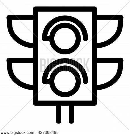 City Traffic Lights Icon. Outline City Traffic Lights Vector Icon For Web Design Isolated On White B