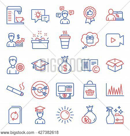 Line Icons Set. Included Icon As Atm, Business Growth, Support Signs. Cash, Positive Feedback, Line