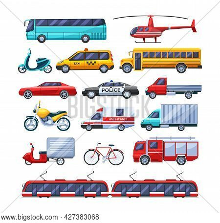 Urban Transport Set. Public Transportable Vehicle Cars Transport: Trolleybus, Scooter, Bus, Bicycle,