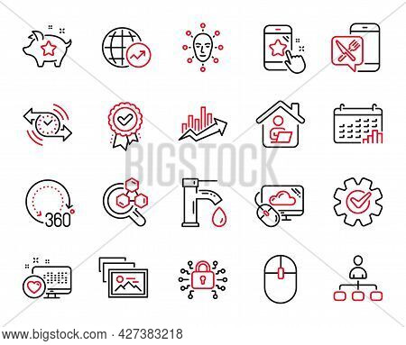 Vector Set Of Technology Icons Related To Security Lock, Timer And Computer Mouse Icons. Food App, L