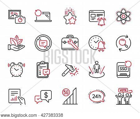 Vector Set Of Technology Icons Related To 5g Wifi, Tool Case And 24h Service Icons. Internet Notific