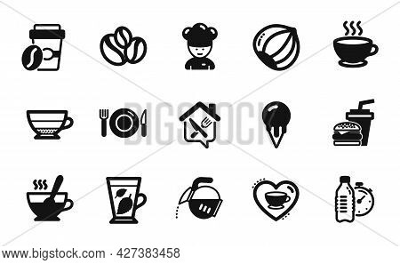 Vector Set Of Food, Coffee Cup And Americano Icons Simple Set. Mint Leaves, Ice Cream And Food Deliv