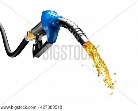 Gasoline Gushing Out From Pump Isolated On White Background - 3d Rendering
