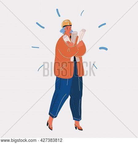 Vector Illustration Of Builders In Orange Overalls And Helmets. Vector Illustration. Female Builder