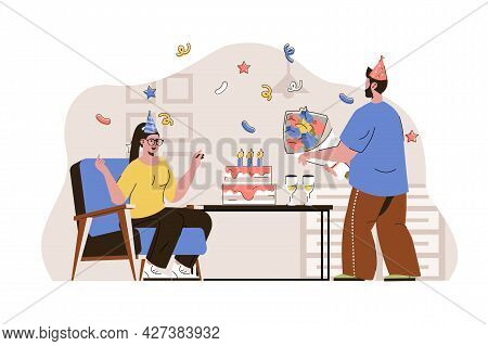 Birthday Party Concept. Couple In Holiday Hats Drinking Champagne Situation. Party Surprise With Cak