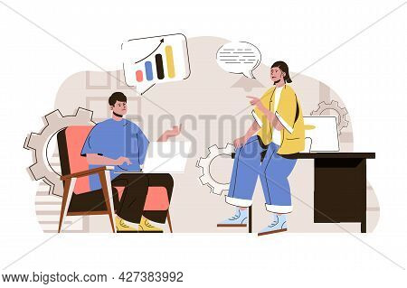 Business Discussion Concept. Employees In Office Discussing Work Tasks Situation. Brainstorming And