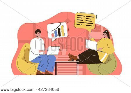 Business Meeting Concept. Colleagues Discuss Tasks, Analyze Report With Data Statistics Situation. T