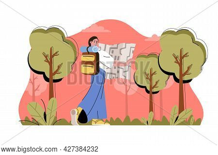 Camping In Forest Concept. Woman With Backpack And Map Goes On Hike Situation. Outdoor Activities, H