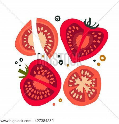 Set With Slices Of Tomatoes Of Different Shapes. Food Background. Flat Vegetables On White. Vegan, F