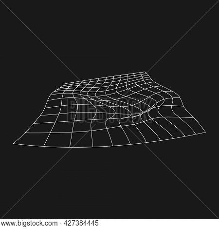 Retrofuturistic Perspective Liquid Distorted Grid. Futuristic Design Element. Cyberpunk Grid In 80s