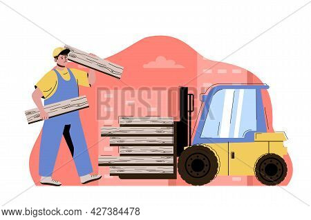 City Building Concept. Man Works On Construction, Loading Boards On Forklift Situation. Real Estate