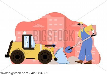 Construction Engineering Concept. Builder With Shovel Working With Bulldozer Machinery Situation. Bu
