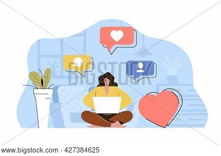 Content Maker Concept. Woman Creates Content For Social Networks Situation. Management, Business Pro