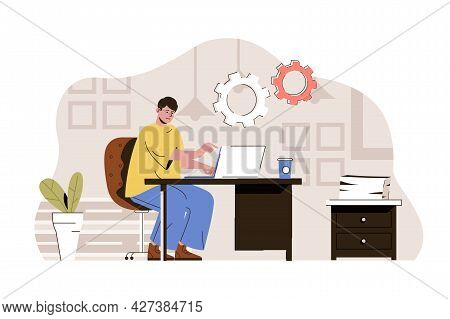 Coworking Space Concept. Man Working On Laptop In Comfortable Open Office Situation. Modern Coworker