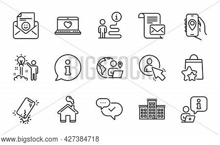 Technology Icons Set. Included Icon As Outsource Work, Smile, Loyalty Points Signs. Creative Idea, W