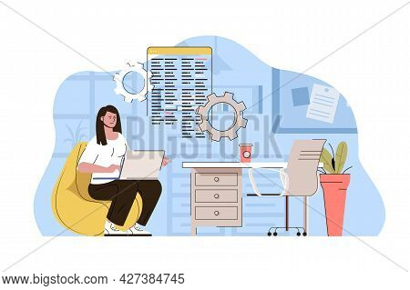 Creative Workspace Concept. Woman Developer Working On Laptop In Comfortable Office Situation. Cowor
