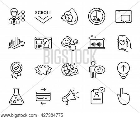 Vector Set Of Like, 48 Hours And Seo Message Line Icons Set. World Mail, Hand Click And Chemistry La