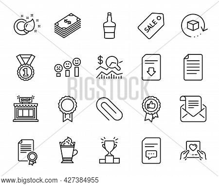 Vector Set Of Reward, Shop And Return Package Line Icons Set. Positive Feedback, Comments And Love M