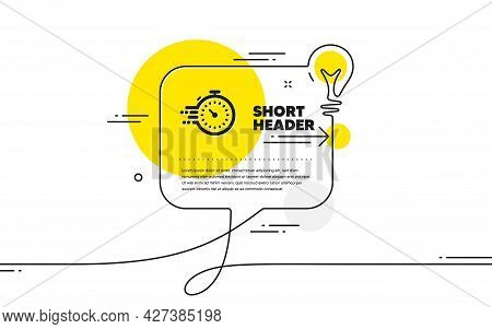 Timer Icon. Continuous Line Idea Chat Bubble Banner. Time Management Sign. Stopwatch Symbol. Timer I