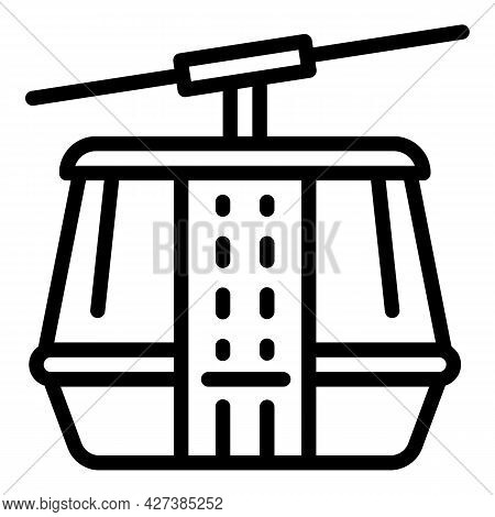 Mountain Cable Car Icon. Outline Mountain Cable Car Vector Icon For Web Design Isolated On White Bac
