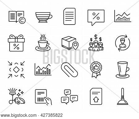 Vector Set Of Tea Cup, Infochart And Salary Employees Line Icons Set. Parcel Invoice, Cappuccino And