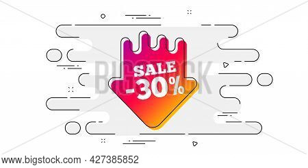 Sale 30 Percent Off Sticker. Geometric Ad Banner On Flow Pattern. Discount Banner Shape. Coupon Arro