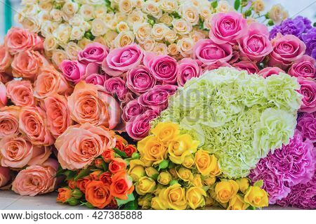 Colorful Beautiful Flowers Wall Background - Roses And Carnations At Studio, Flower Shop - Close Up