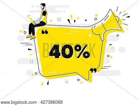 40 Percent Off Sale. Alert Megaphone Chat Banner With User. Discount Offer Price Sign. Special Offer