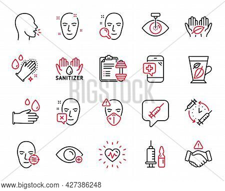 Vector Set Of Healthcare Icons Related To Heartbeat, Rubber Gloves And Medical Mask Icons. Vaccine M