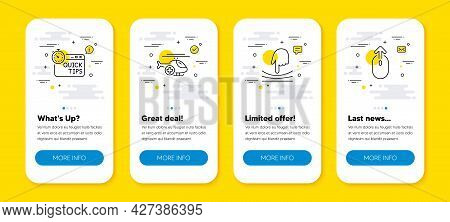 Vector Set Of Elastic, Quick Tips And Medical Helicopter Line Icons Set. Ui Phone App Screens With L