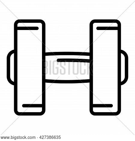 Power Dumbell Icon. Outline Power Dumbell Vector Icon For Web Design Isolated On White Background